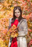Female person with bouquet from autumn leafs posing against colorful bushes. Portrait of young woman in beige coat in fall forest. Female person with bouquet stock images