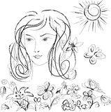 Female person and flowers. A black-and-white illustration coal Royalty Free Stock Images