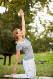 Healthy life with body exercises in nature stock images