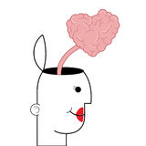 female person with open head and heart shaped brain coming out icon Stock Photo