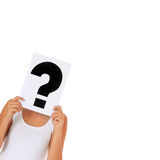 Female person with question mark Stock Images