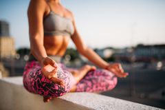 Female person, relaxation in yoga pose Royalty Free Stock Photo