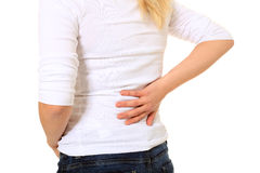 Female person suffers from backache Stock Image