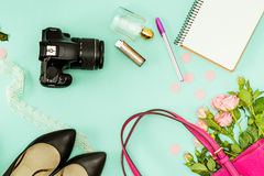 The female personal items on desktop stock images