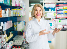 Female pharmacist in drugstore Stock Photography