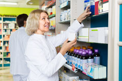 Female pharmacist in drugstore Stock Photo