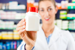 Female pharmacist in her pharmacy Stock Images