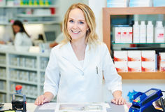 Female pharmacutical chemist portrait stock photos