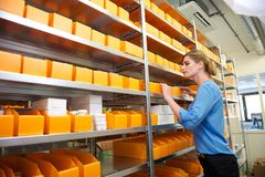 Female pharmacy worker looking at shelves for drugs and medicine Royalty Free Stock Images