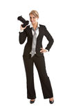 Female photographer. Attractive young woman standing in a confident pose with her camera Royalty Free Stock Image