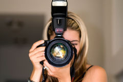 Female photographer. royalty free stock photos