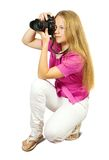 Female photographer with camera Stock Photo