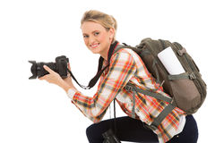 Female photographer camera Stock Image