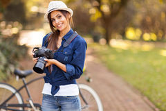 Female photographer camera Royalty Free Stock Photo