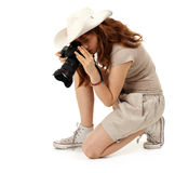 Female photographer with digital camera Stock Photography