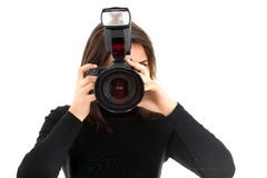 Female photographer with digital camera Stock Photos
