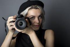 Female Photographer with DSLR Stock Photos