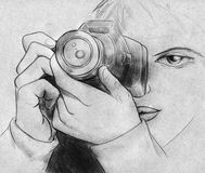 Female photographer with her camera. Hand drawn pencil sketch of a girl with camera taking pictures Royalty Free Stock Photo
