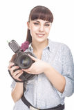 Female Photographer Holding a Professional Camera and Smiling Stock Images