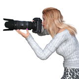 Female Photographer. Image of a female photographer. The woman is CG Stock Photos