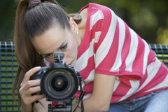 Female Photographer making shot Royalty Free Stock Photography