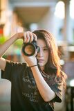 Female photographer portrait Royalty Free Stock Photography