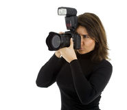 Female Photographer with professional camera Royalty Free Stock Photo
