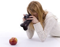 Female Photographer Shooting Red Apple Stock Photos