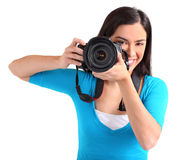 Female Photographer Shooting You Stock Image