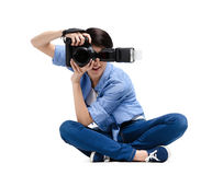 Female-photographer takes images Royalty Free Stock Image