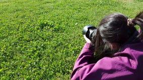 Female photographer using DSLR camera on grass. Shooting dandelion stock footage