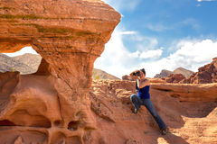 Female photographer in the Valley of Fire royalty free stock image