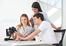 Female photographer viewing images Stock Image