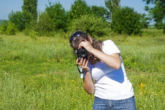 Female photographing Stock Photo