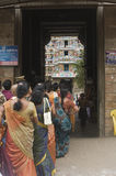 Female pilgrims in line for Shiva temple Royalty Free Stock Photography