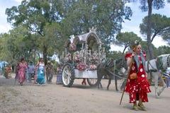 Female pilgrims on their way to El Rocio Stock Photo