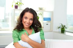 Female with pillow Stock Photos