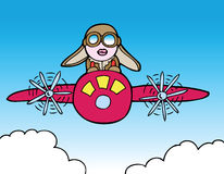 Female Pilot. A female pilot takes her plane for a ride royalty free illustration