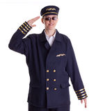 Female pilot saluting Stock Image