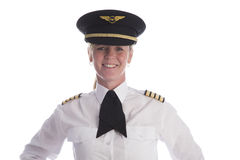 Female pilot wearing uniform hat Stock Image