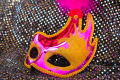 Female pink carnival mask Stock Photography