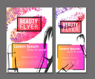 Female pink flyer. Beauty business card set Royalty Free Stock Images