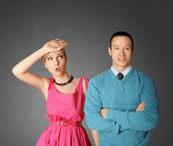 Female in pink and male in blue. Couple female in pink and male in blue Royalty Free Stock Photos