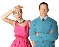 Female in pink and male in blue Royalty Free Stock Photography
