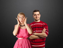Female in pink and male in red Royalty Free Stock Image