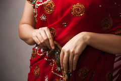Female in pink sari Royalty Free Stock Photography