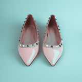 Female pink shoes Royalty Free Stock Images
