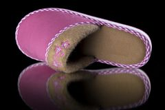 Female Pink Slipper on Black Background, isolated product. Comfortable footwear Stock Images