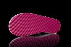 Female Pink Slipper on Black Background, isolated product. Comfortable footwear Stock Image