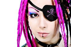 Female pirate. Beautiful cosplay young woman in a piratic costume royalty free stock photography